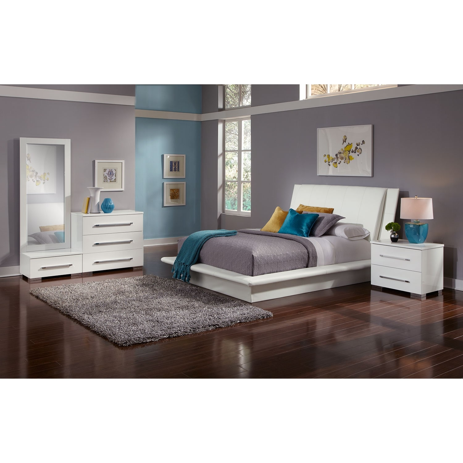 Bedroom Furniture - Dimora 6-Piece Queen Upholstered Bedroom Set - White