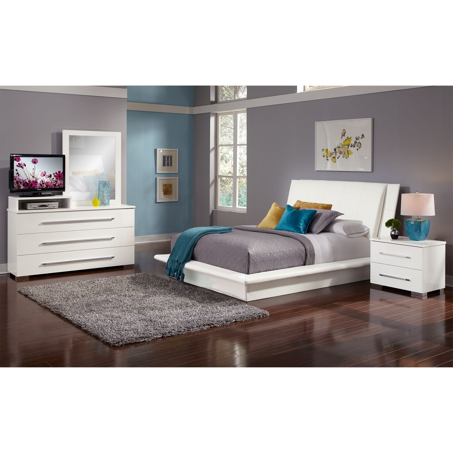 Dimora 6-Piece King Upholstered Bedroom Set with Media Dresser - White