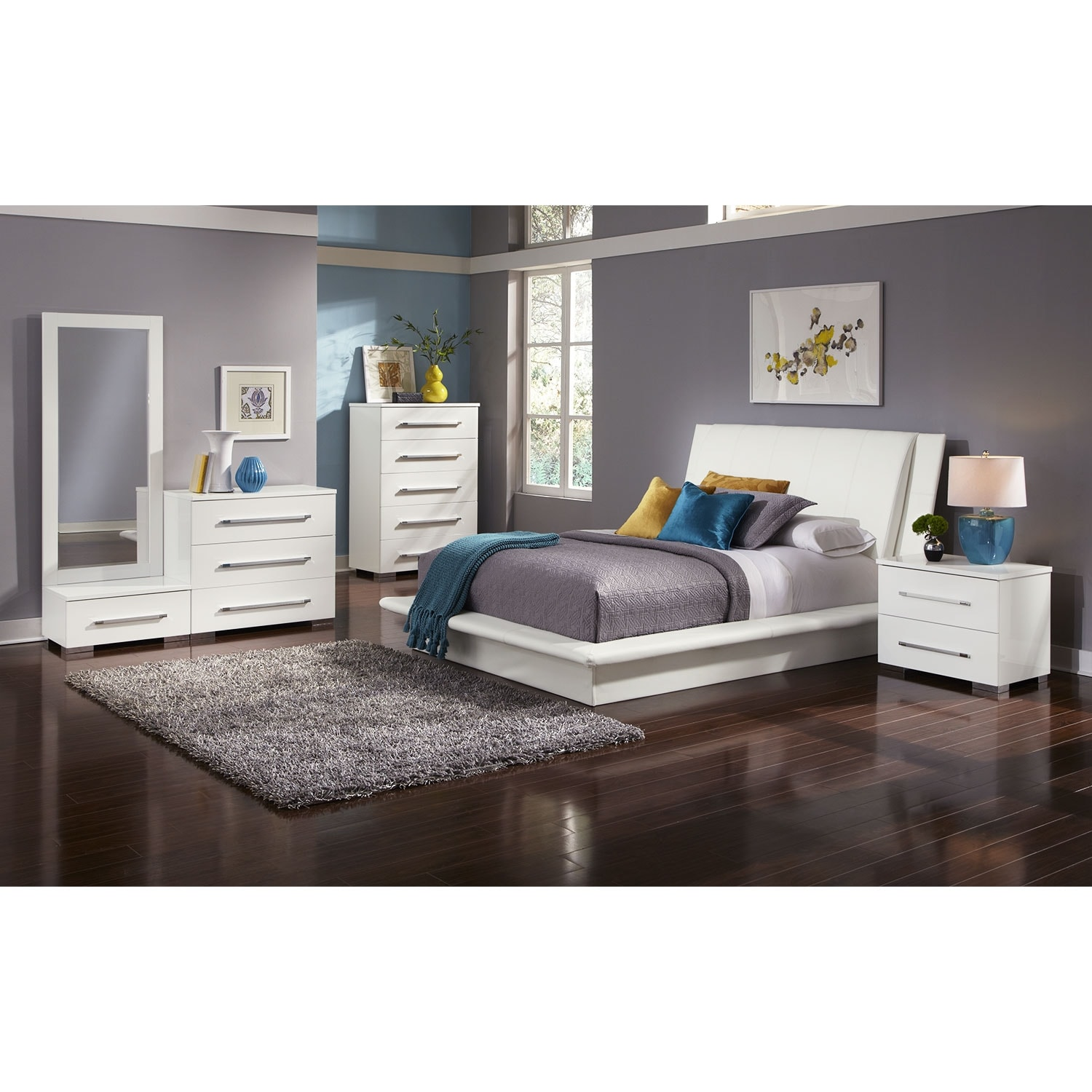 Click to change image. Dimora 7 Piece Queen Upholstered Bedroom Set   White   American