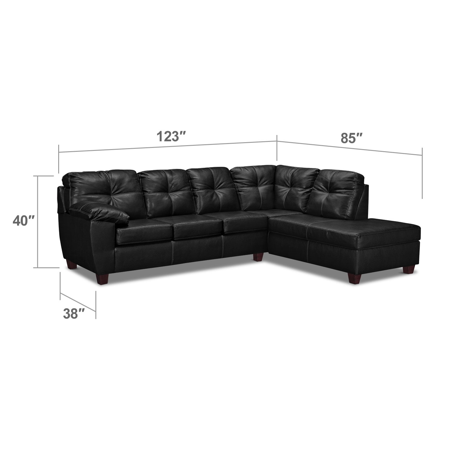 Living Room Furniture - Rialto Onyx 2-Pc. Sectional with Right-Facing Chaise