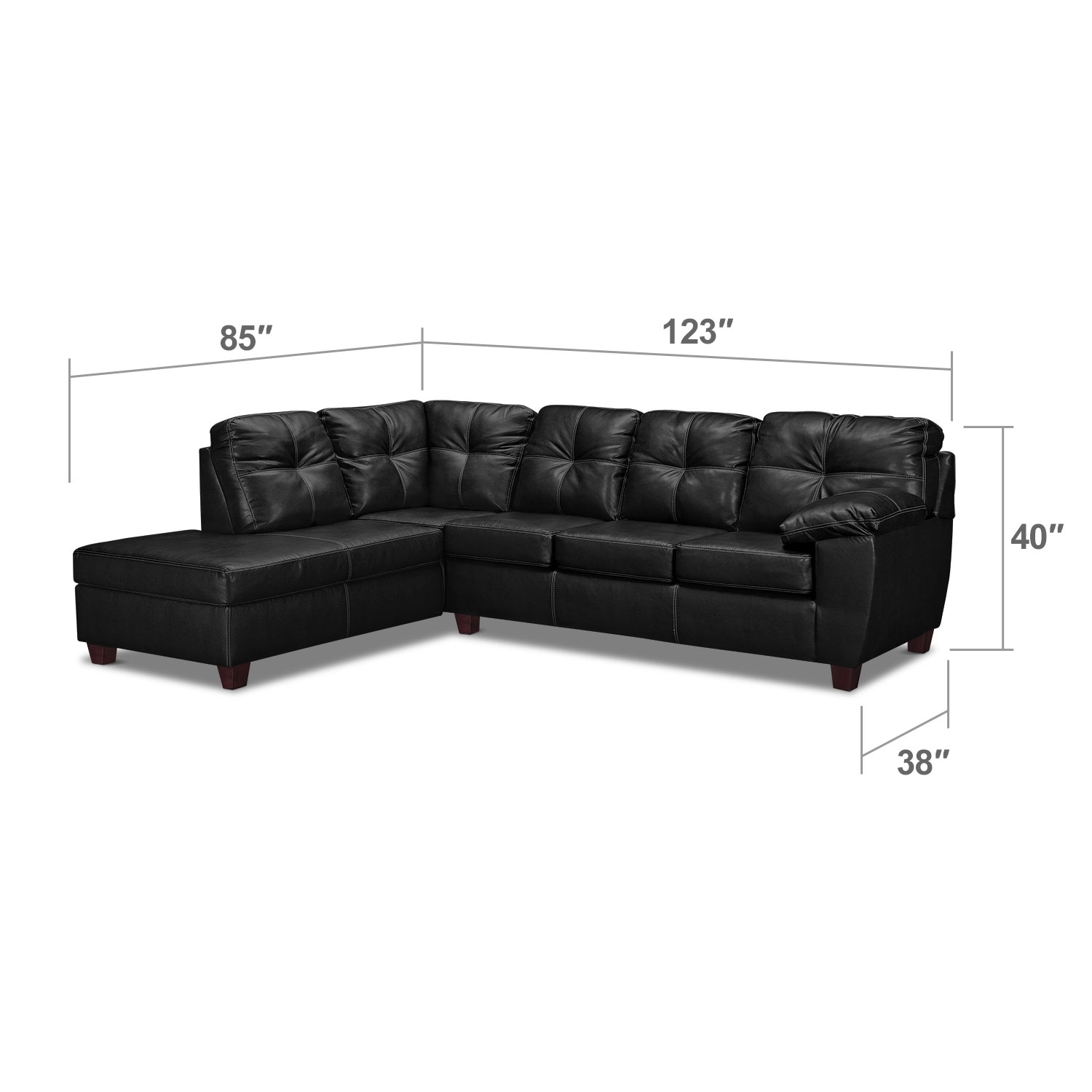 Living Room Furniture - Rialto Onyx 2 Pc. Sectional with Left-Facing Chaise