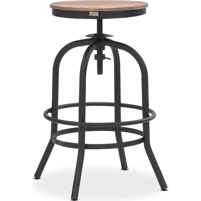 Dining Room Furniture - Elston Adjustable Backless Counter-Height Stool - Antiqued Black