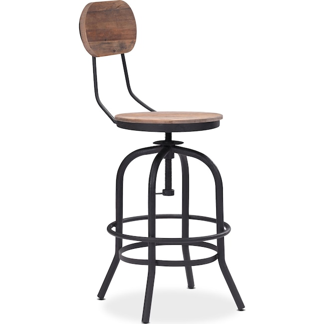 Dining Room Furniture - Elston Adjustable Counter-Height Stool - Antiqued Black