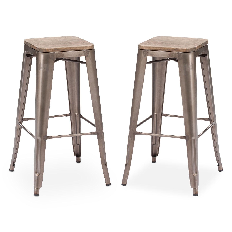 Dining Room Furniture - Rustica 2-Pack Barstools - Steel