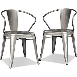Squadron 2-Pack Arm Chairs - Polished Steel