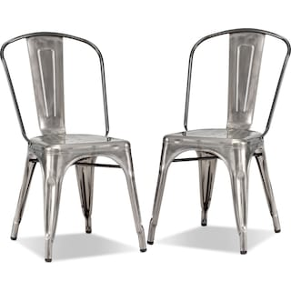 Squadron 2-Pack Side Chairs - Polished Steel