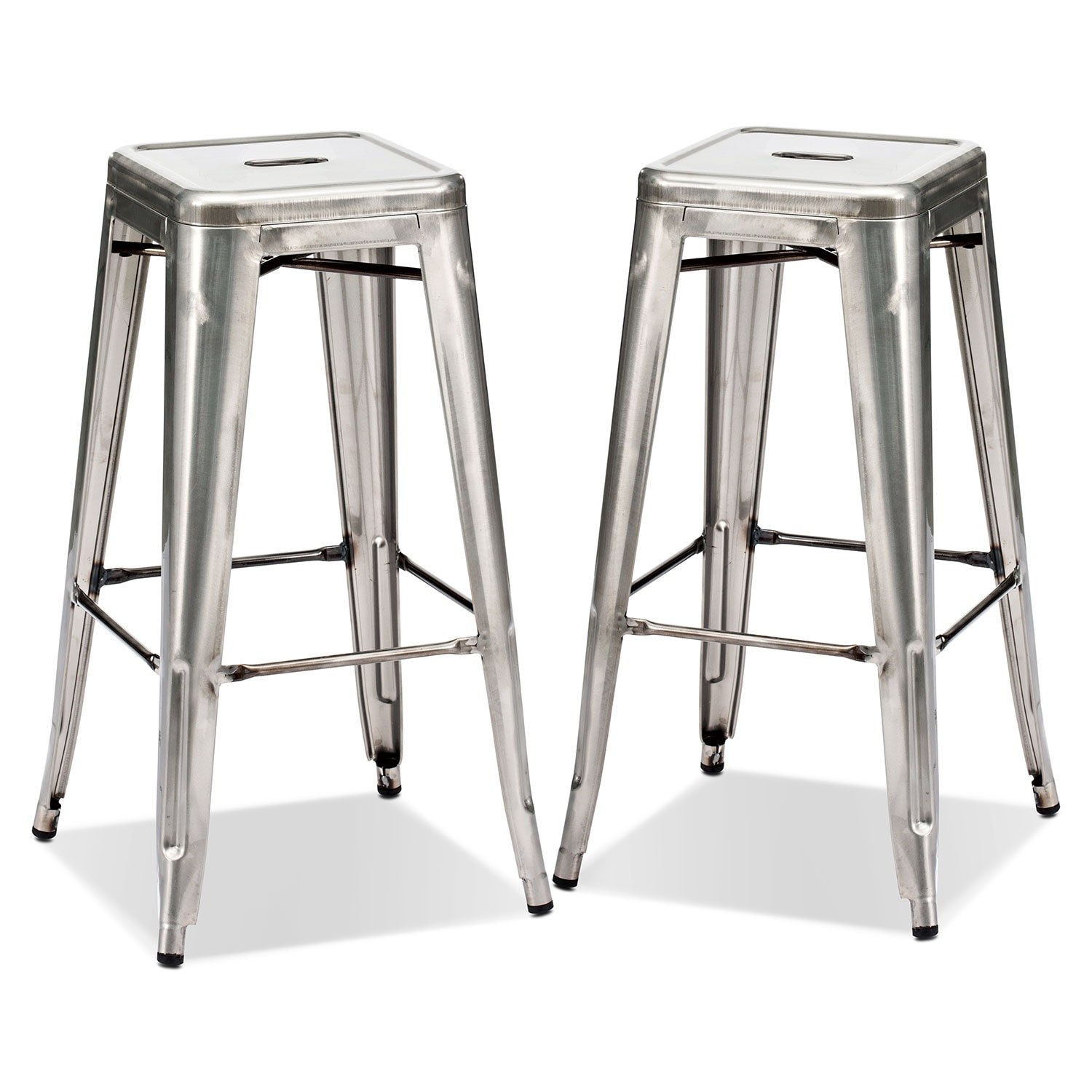 Dining Room Furniture - Squadron 2-Pack Barstools - Polished Steel