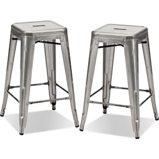 Squadron 2-Pack Counter-Height Stools - Polished Steel