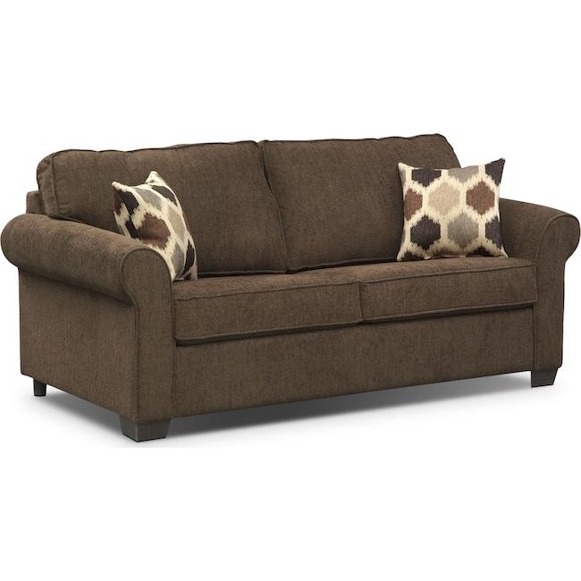 Living Room Furniture - Fletcher Full Memory Foam Sleeper Sofa - Chocolate