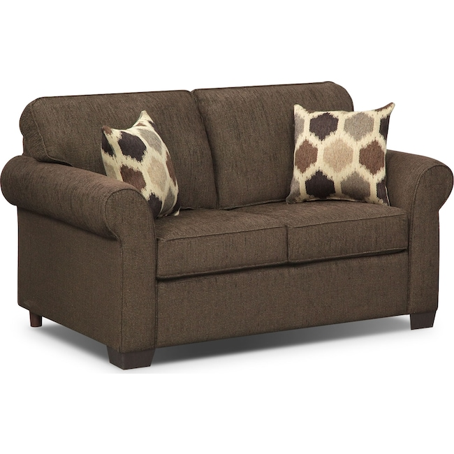Living Room Furniture - Fletcher Twin Memory Foam Sleeper Sofa - Chocolate
