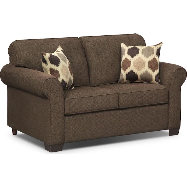 Living Room Furniture - Fletcher Twin Innerspring Sleeper Sofa - Chocolate