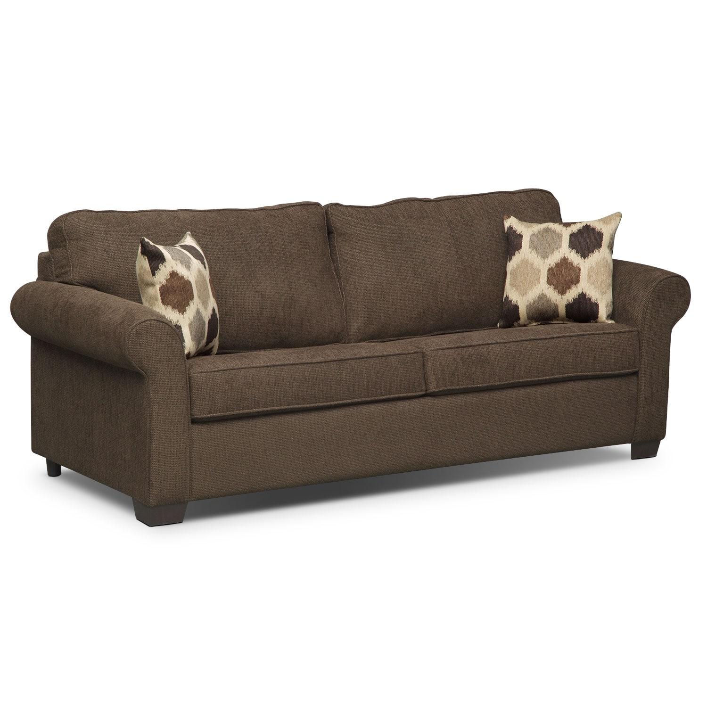 Living Room Furniture - Fletcher Queen Memory Foam Sleeper Sofa - Chocolate