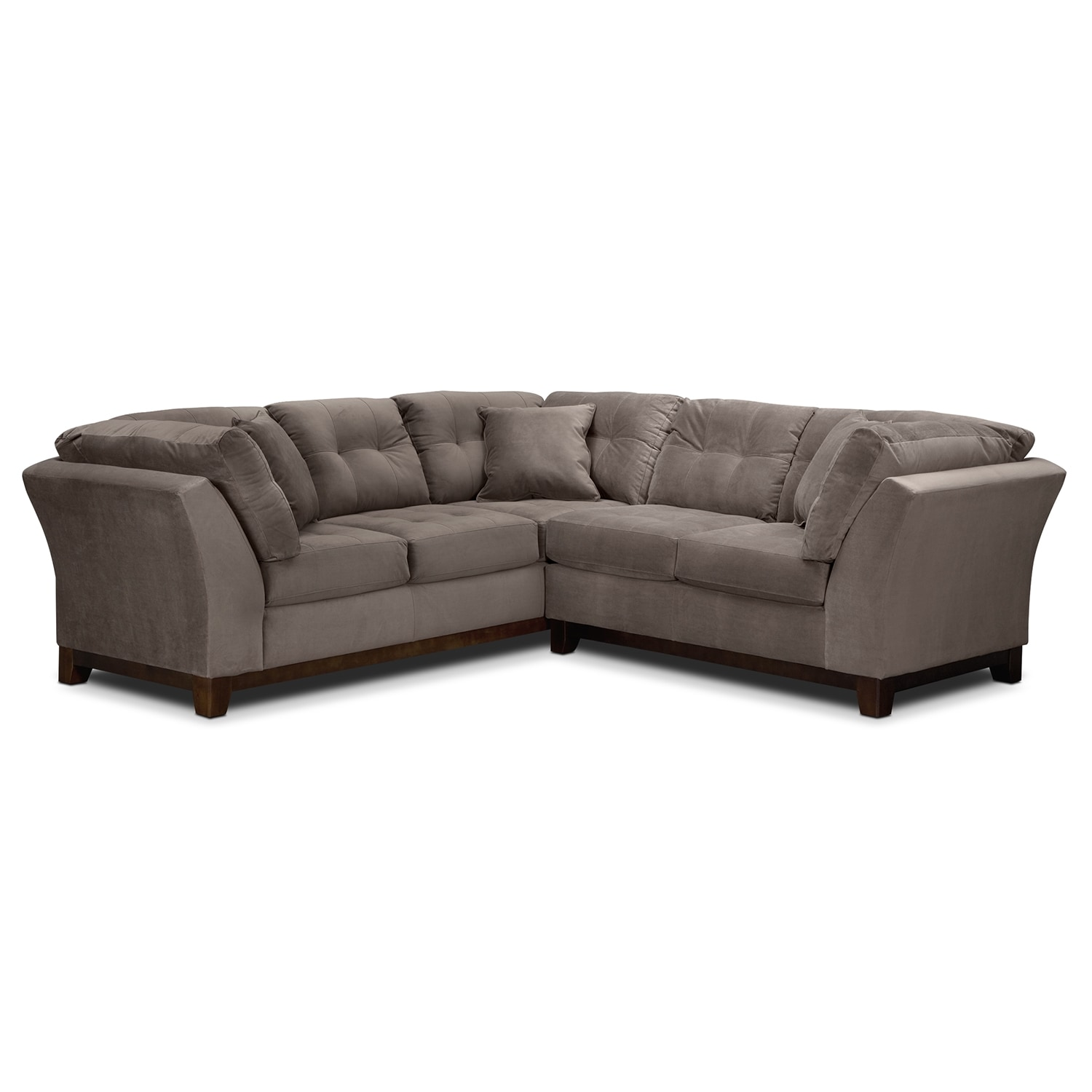 "Living Room Furniture - Solace 2-Piece Left-Facing 105"" Sofa Sectional - Gray"