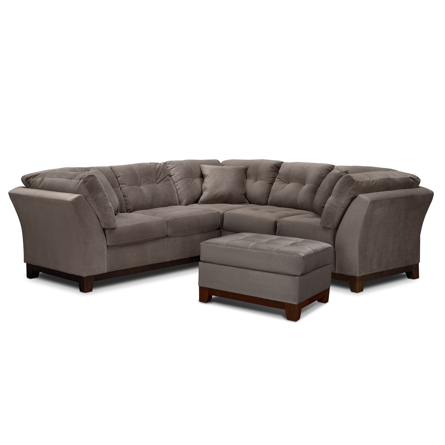 Living Room Furniture - Solace Gray II 2 Pc. Sectional (Alternate II Reverse) and Ottoman