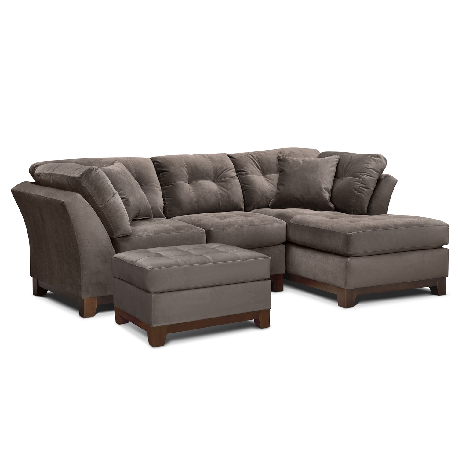 Living Room Furniture - Solace Gray II 2 Pc. Sectional (Alternate Reverse) and Ottoman