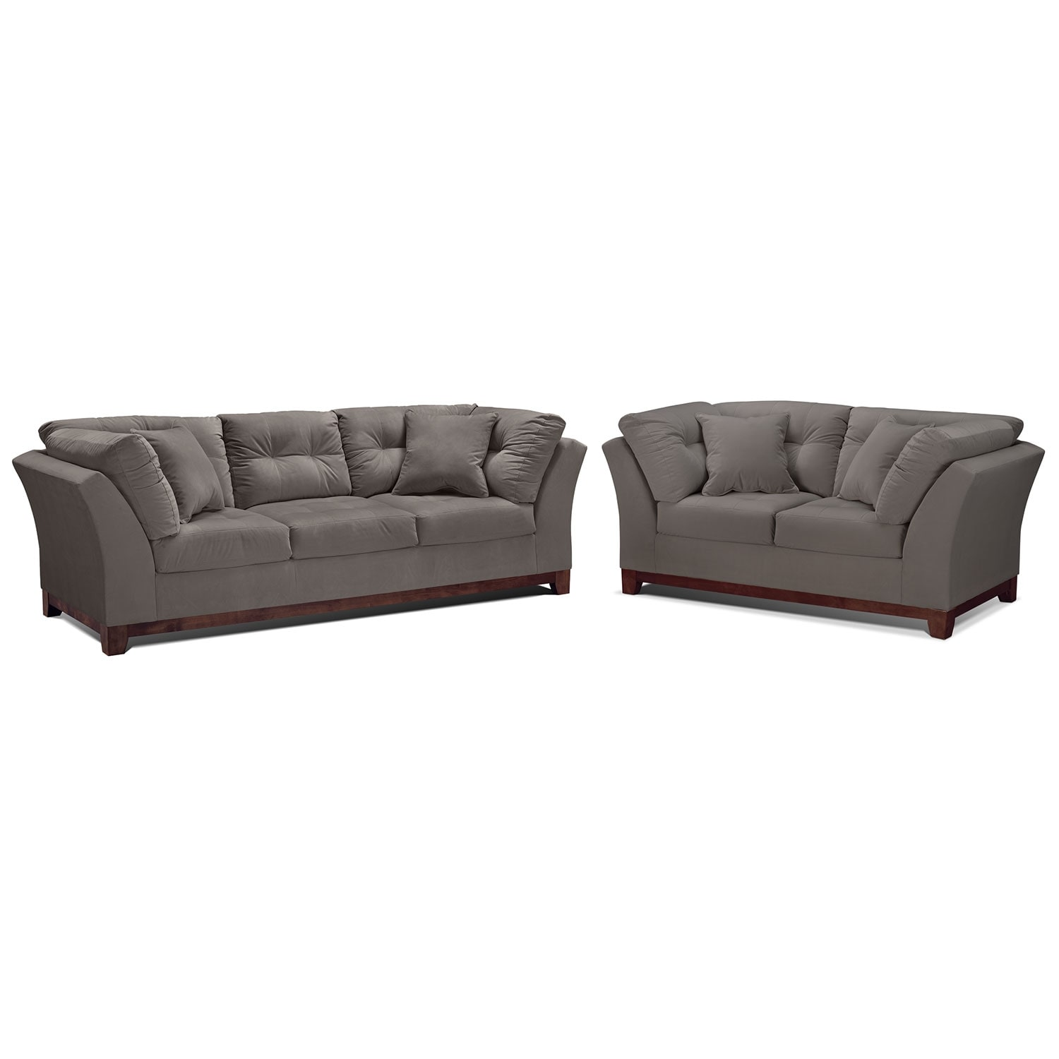 Living Room Furniture - Solace Gray 2 Pc. Living Room