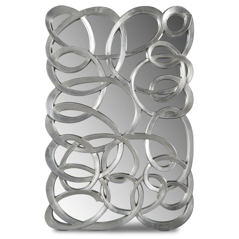 Home Accessories - Swirl Circles Mirror - Silver