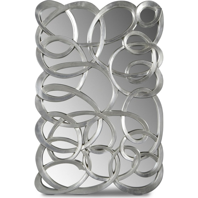 Home Accessories - Swirl Circles Mirror - Silver
