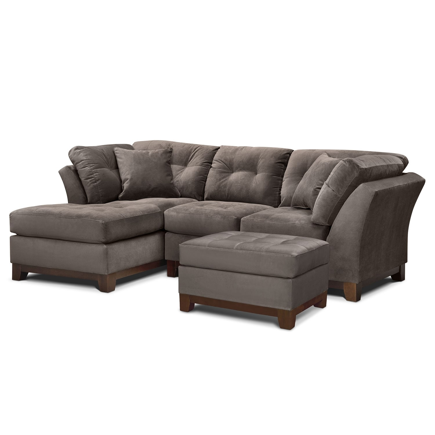 Living Room Furniture - Solace Gray II 2 Pc. Sectional (Alternate) and Ottoman