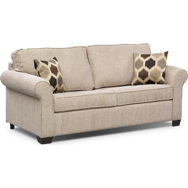 Living Room Furniture - Fletcher Full Innerspring Sleeper Sofa - Beige