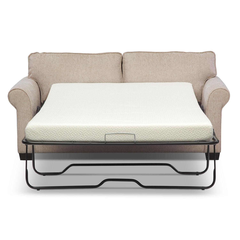 Fletcher Full Memory Foam Sleeper Sofa Beige American Signature Furniture