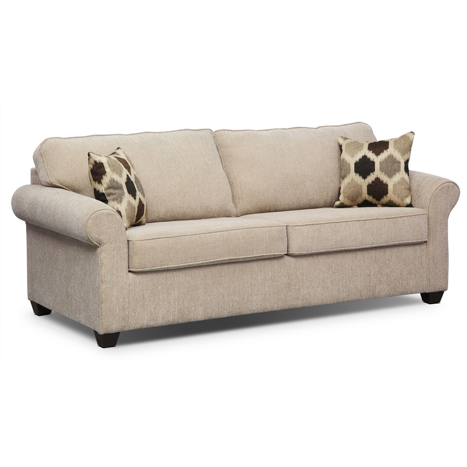 Fletcher queen memory foam sleeper sofa beige american for Sectional sofa with recliner and queen sleeper