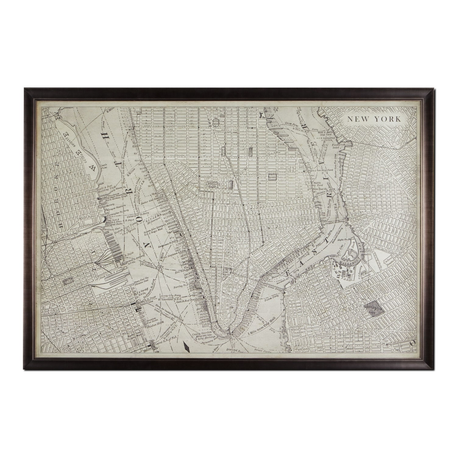 Map of NYC Framed Print