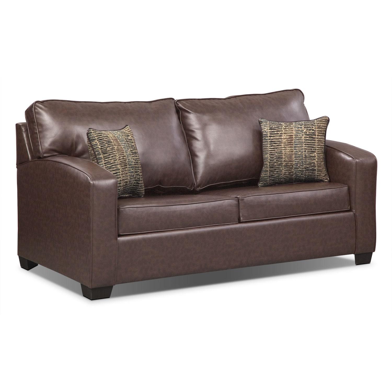 Living Room Furniture - Brookline Full Innerspring Sleeper Sofa - Brown