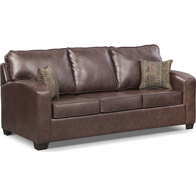 Living Room Furniture - Brookline Queen Innerspring Sleeper Sofa - Brown