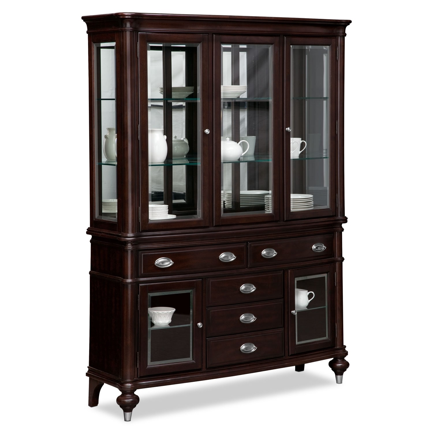 esquire buffet and hutch cherry american signature. Black Bedroom Furniture Sets. Home Design Ideas