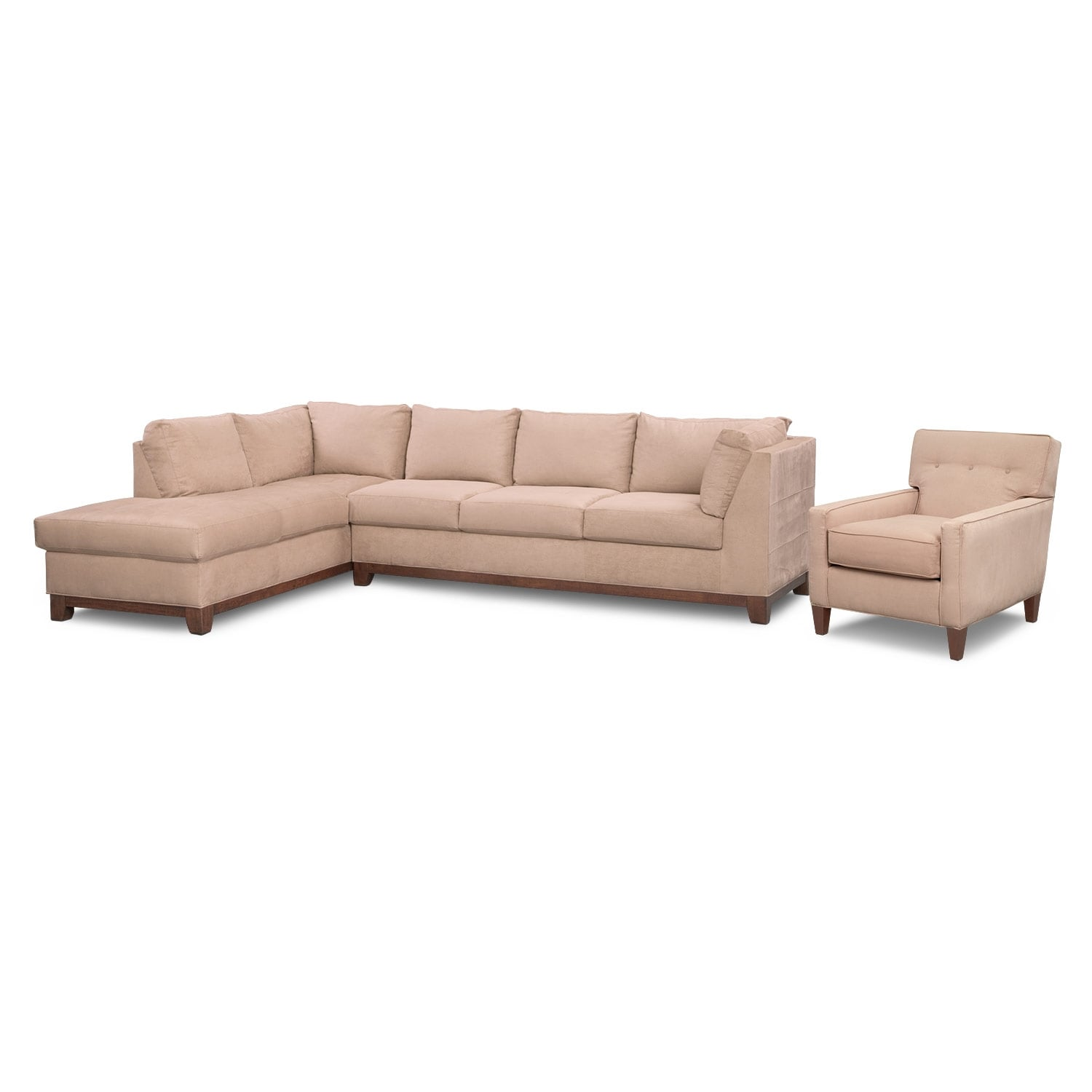 Living Room Furniture - Soho 2-Piece Left-Facing Sectional and Chair - Cobblestone