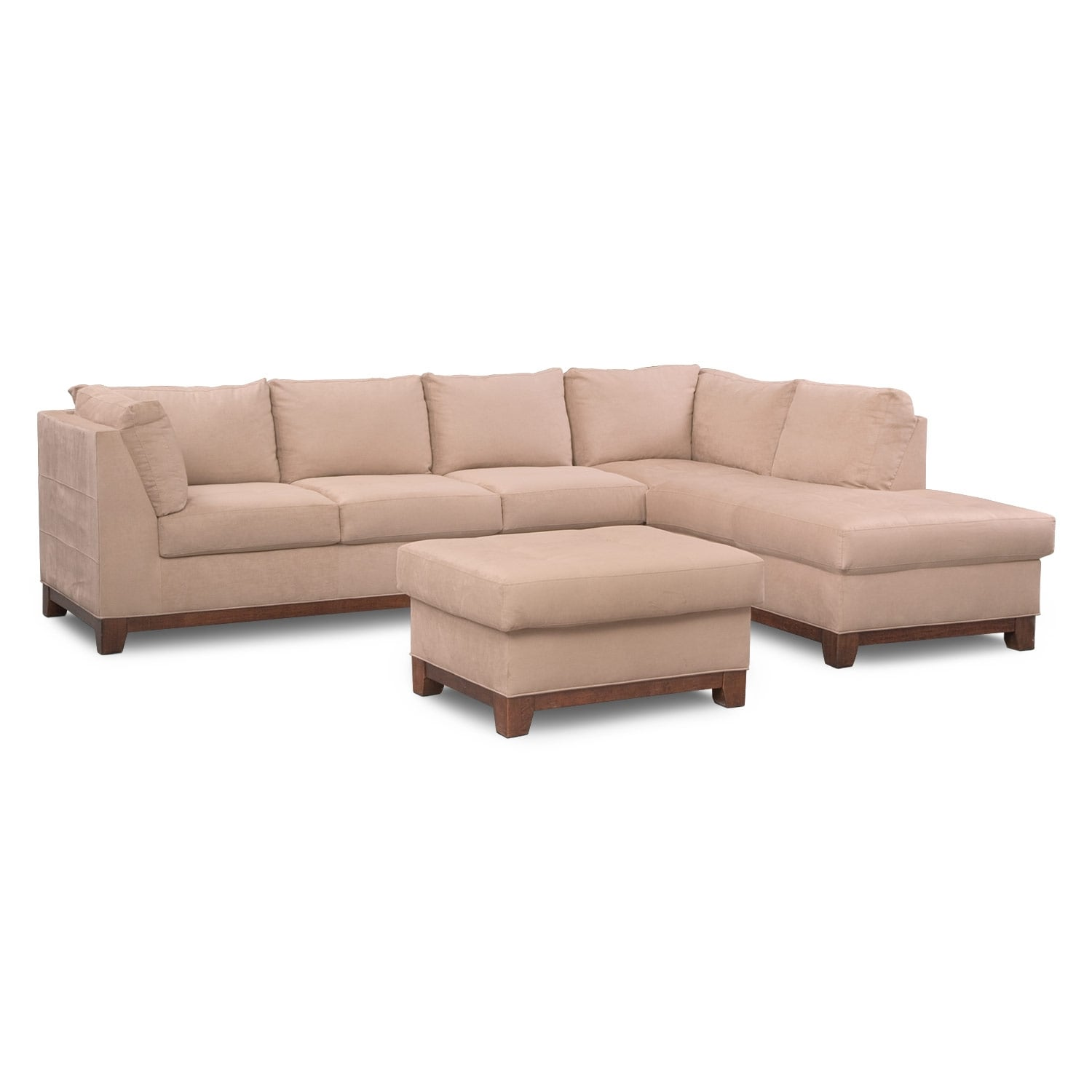 Living Room Furniture - Soho 2-Piece Right-Facing Sectional and Ottoman - Cobblestone