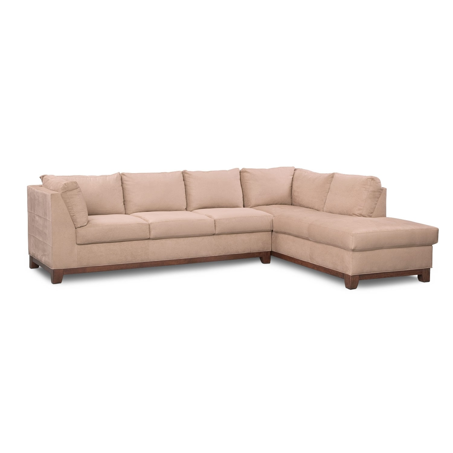 Soho 2 piece sectional with right facing chaise for Couch with 2 chaises
