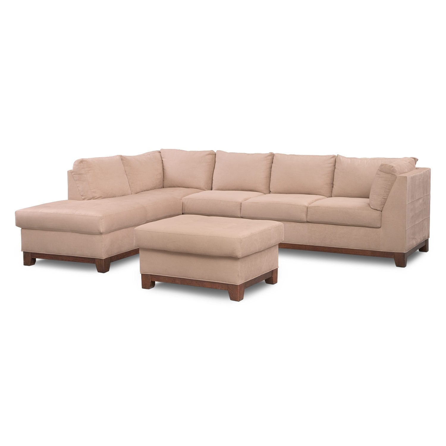 Living Room Furniture - Soho 2-Piece Sectional with Left-Facing Chaise and Ottoman - Cobblestone