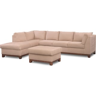 Soho 2-Piece Sectional with Left-Facing Chaise and Ottoman - Cobblestone
