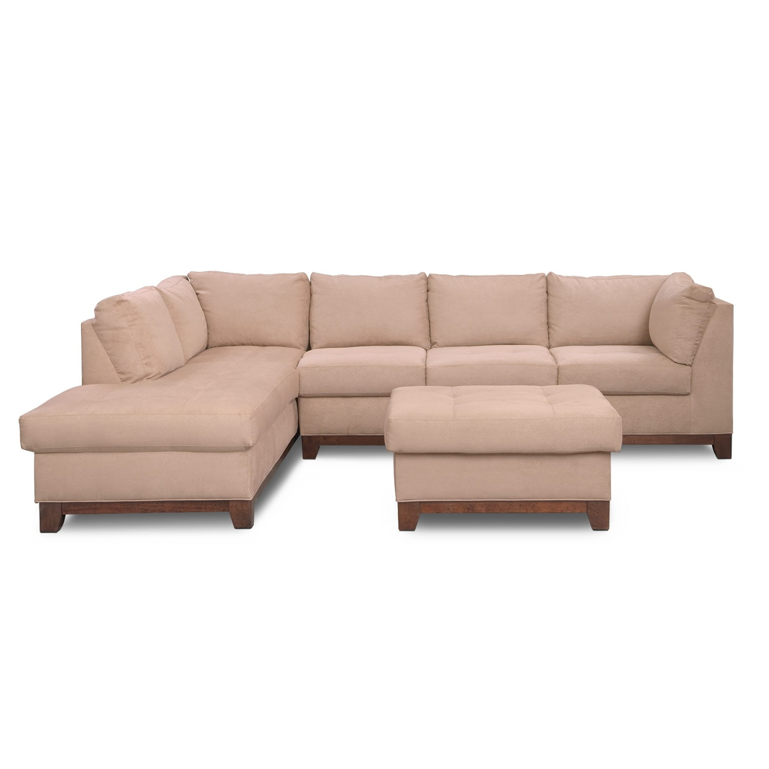 Soho 2 piece sectional with left facing chaise and ottoman for American signature furniture commercial chaise