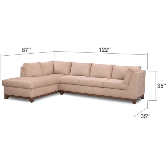 Living Room Furniture - Soho 2-Piece Sectional with Left-Facing Chaise - Cobblestone
