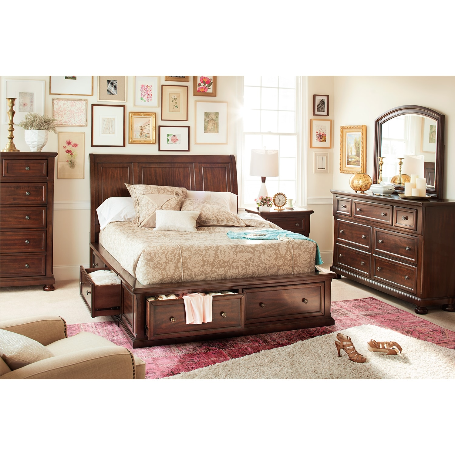 Hanover 7 piece king storage bedroom set cherry for Signature furniture
