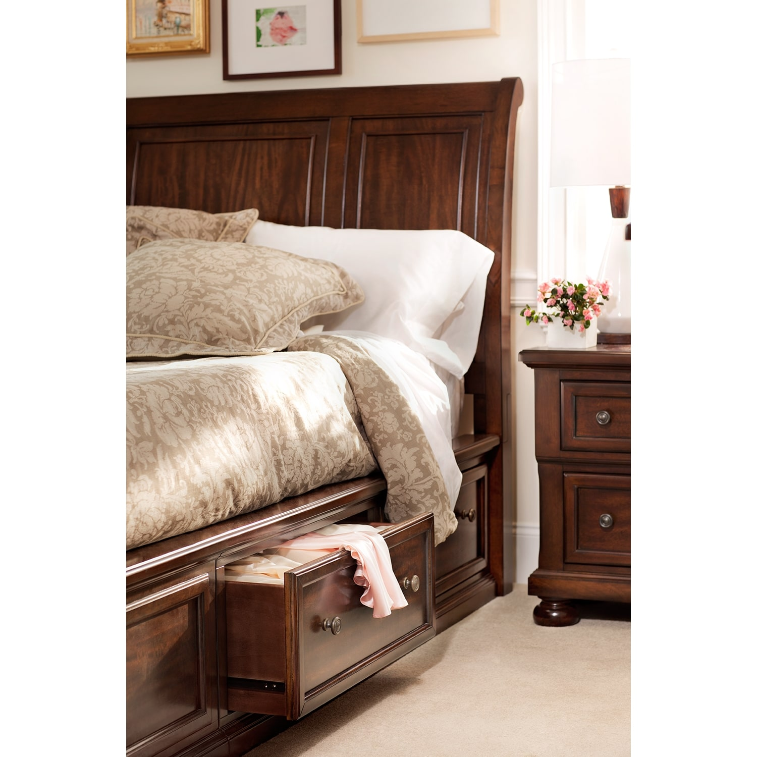 Furniture Com: Hanover Queen Storage Bed - Cherry