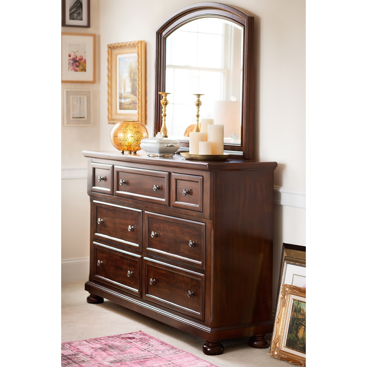 american signature bedroom furniture hanover dresser and mirror cherry american signature 14013