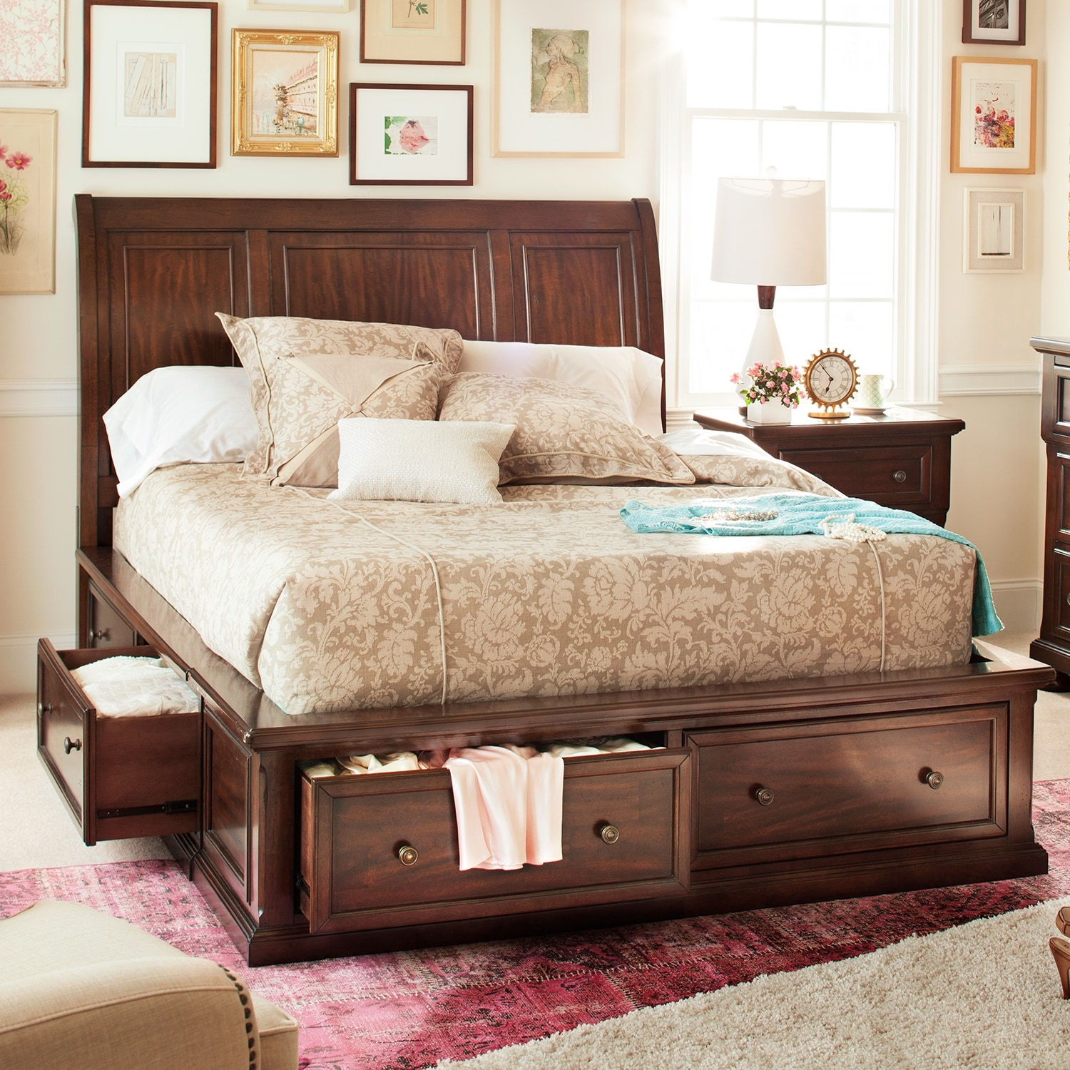 Hanover King Storage Bed - Cherry | American Signature Furniture