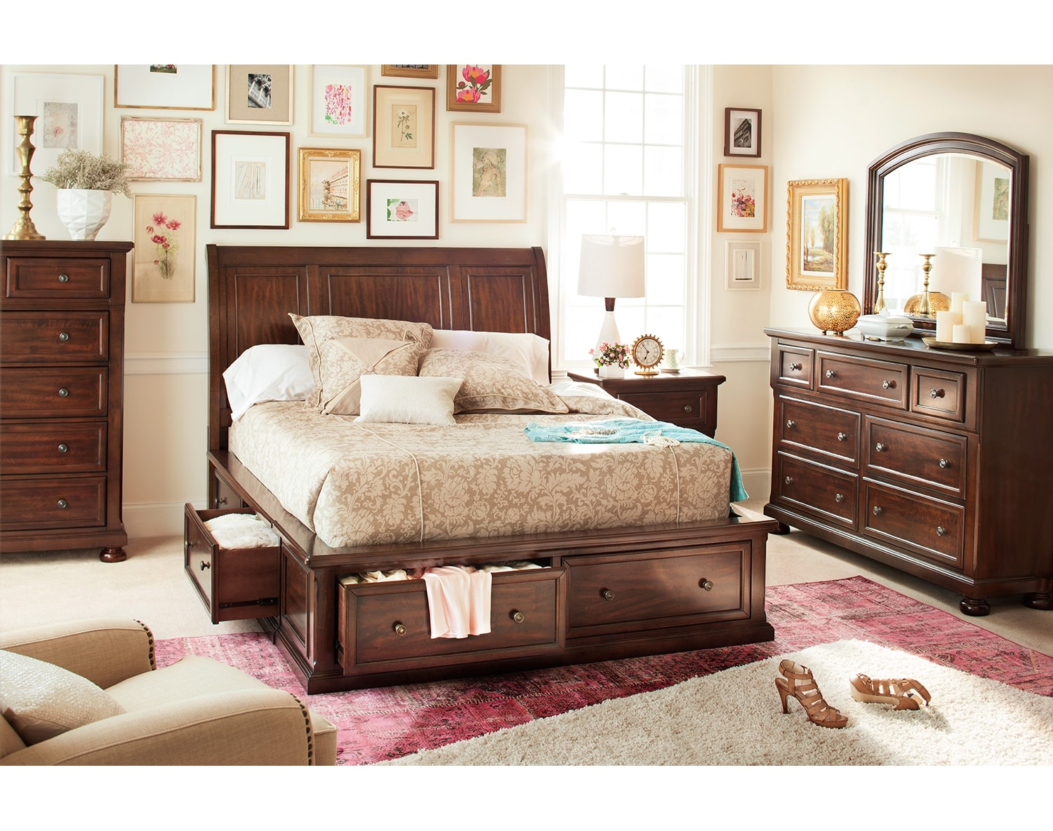 The Hanover Storage Bedroom Collection - Cherry  sc 1 st  American Signature Furniture : bedroom chest storage  - Aquiesqueretaro.Com
