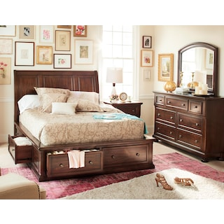 Hanover 5-Piece Queen Storage Bedroom Set with Dresser and Mirror - Cherry