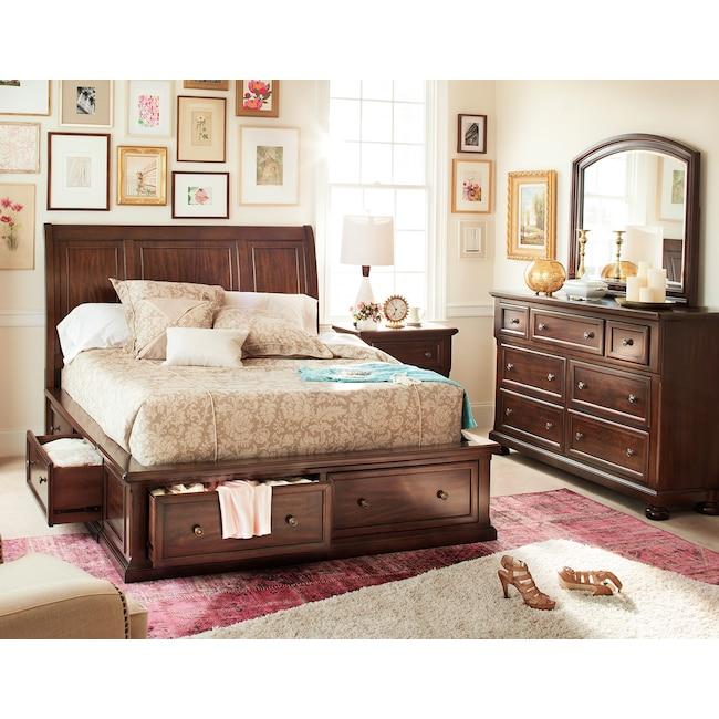 Bedroom Furniture - Hanover 5-Piece King Storage Bedroom - Cherry