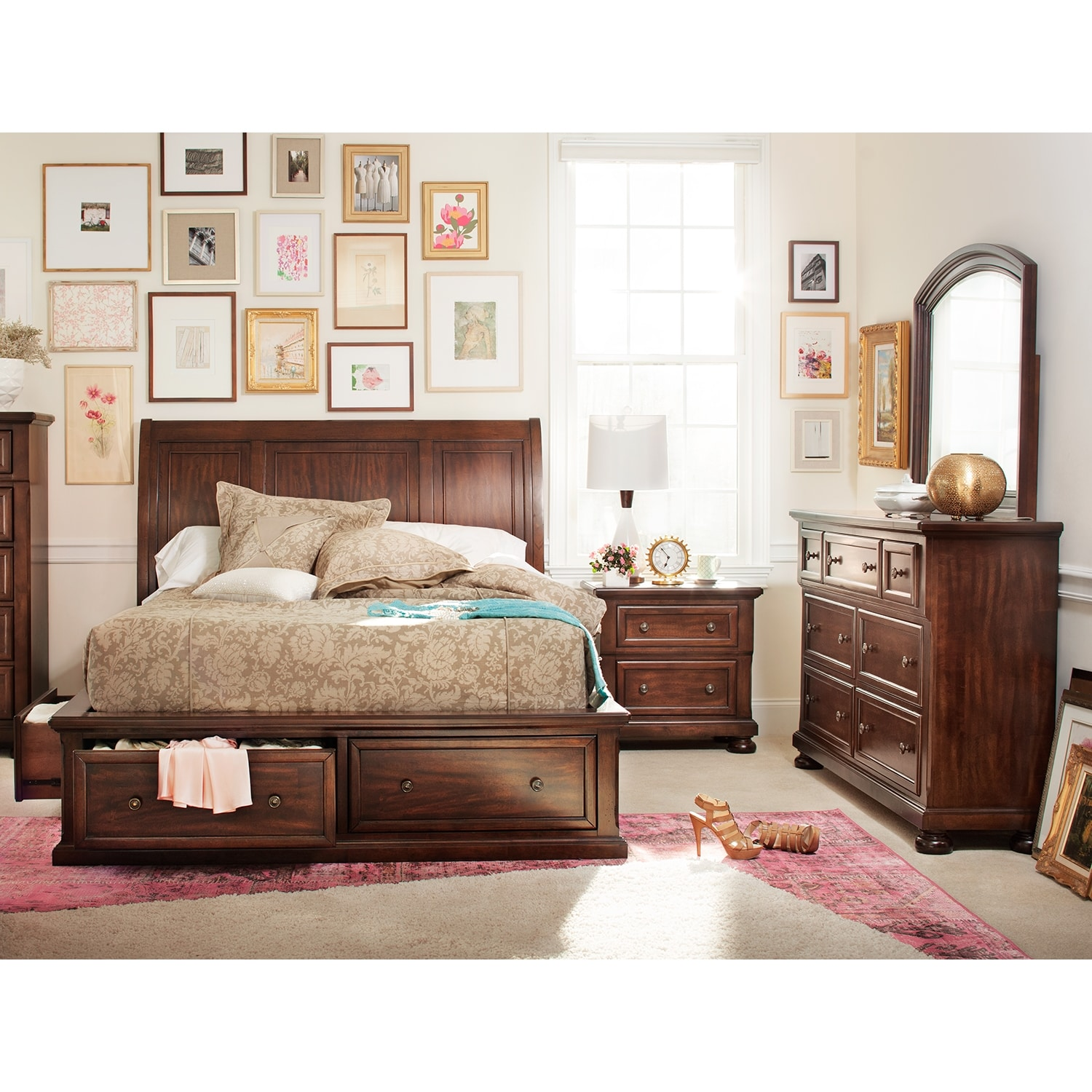 Hanover 6-Piece King Storage Bedroom Set - Cherry