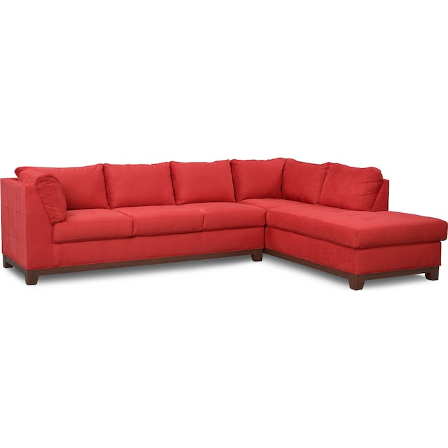 Living Room Furniture - Soho 2-Piece Sectional with Right-Facing Chaise - Red