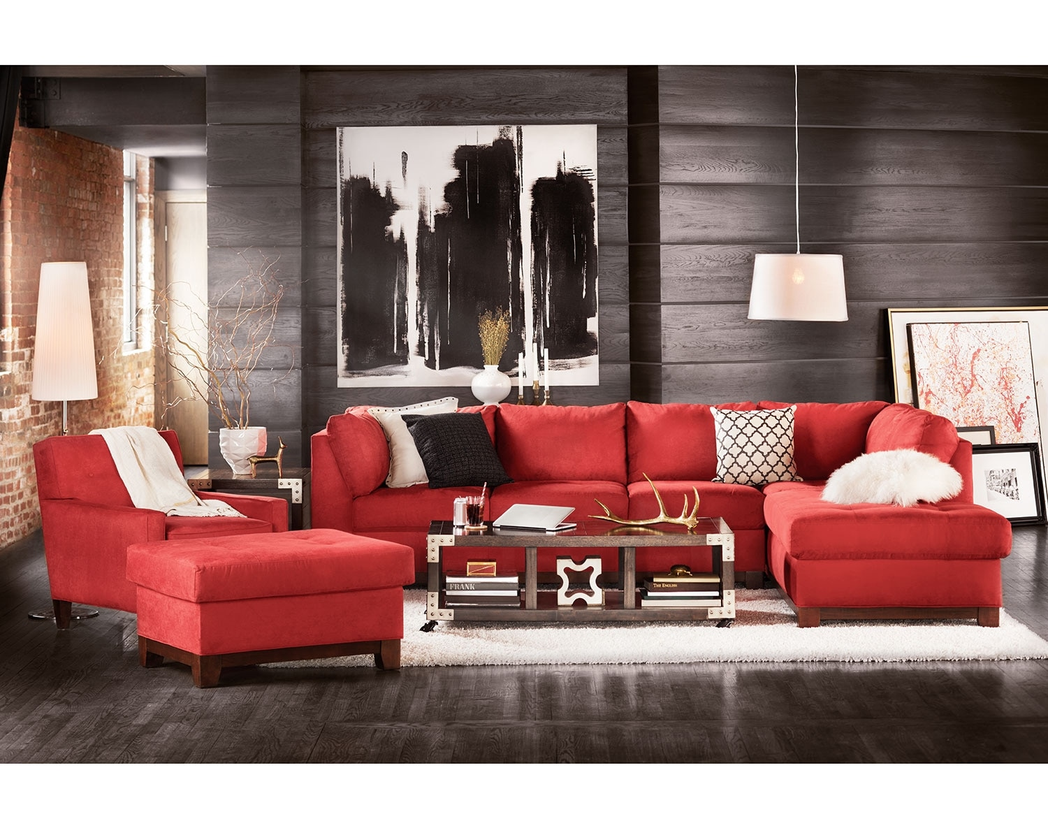 The soho sectional collection red american signature for Black front room furniture