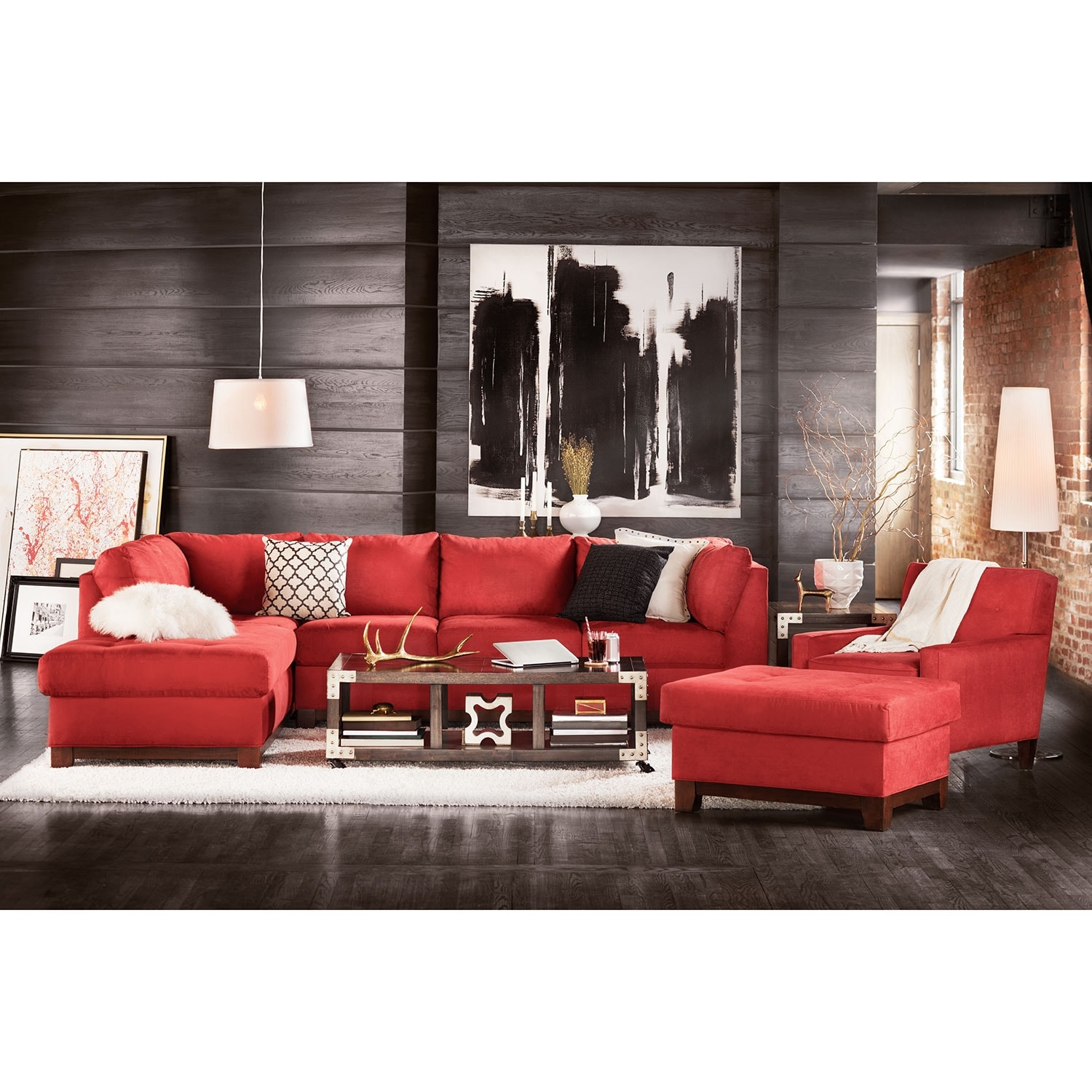 Soho 2 Piece Sectional With Left Facing Chaise Red American Signature Fur