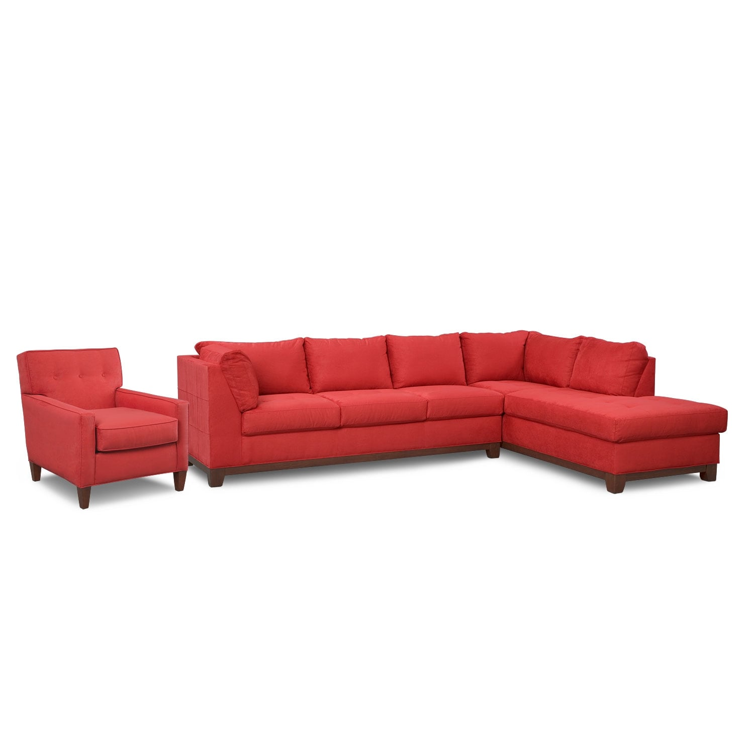 Living Room Furniture - Soho 2-Piece Sectional with Right-Facing Chaise and Chair - Red