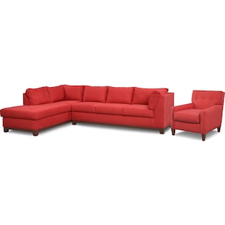 Soho 2-Piece Sectional with Left-Facing Chaise and Chair - Red